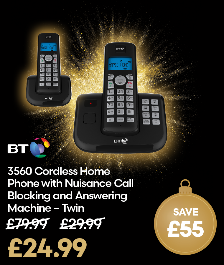 BT 3560 Cordless Home Phone - Twin Black Friday Deal