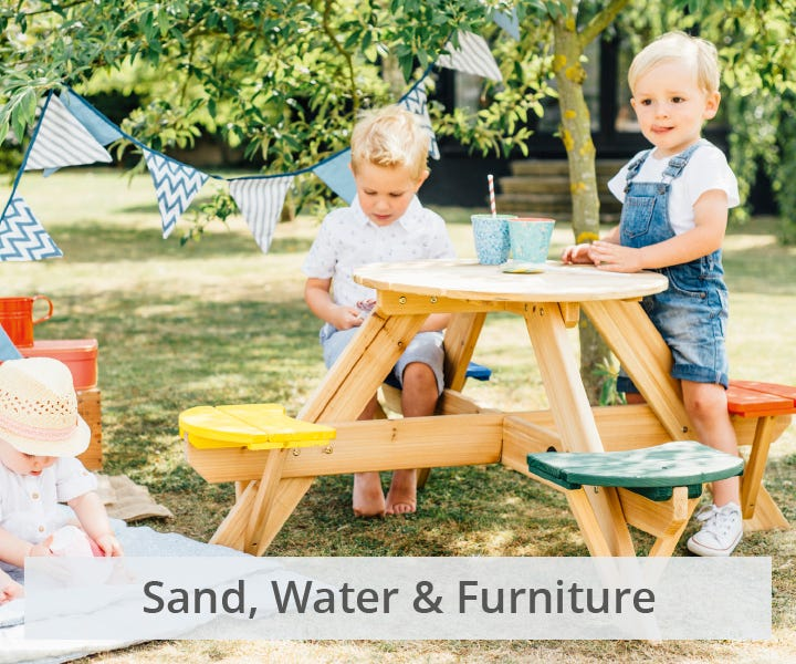 Plum furniture, water stations and sand pits