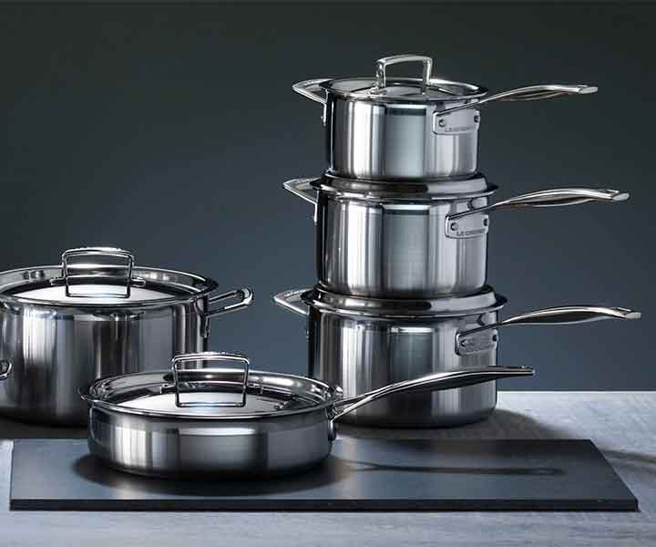 Le Creuset stainless steel pan set