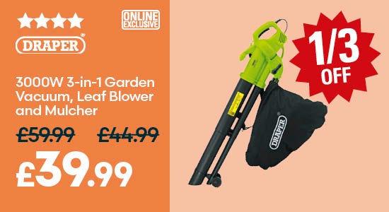 Save on Draper 3000W 3-in-1 Garden Vacuum, Leaf Blower
